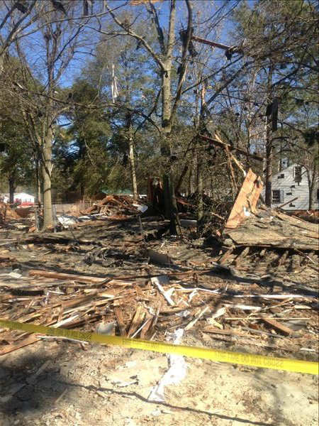 "<div class=""meta ""><span class=""caption-text "">Authorities in Fayetteville are investigating an early Wednesday morning explosion at a vacant home in 3300 block of Cumberland Road.  (Photo/ABC11 Reporter Nicole Carr)</span></div>"
