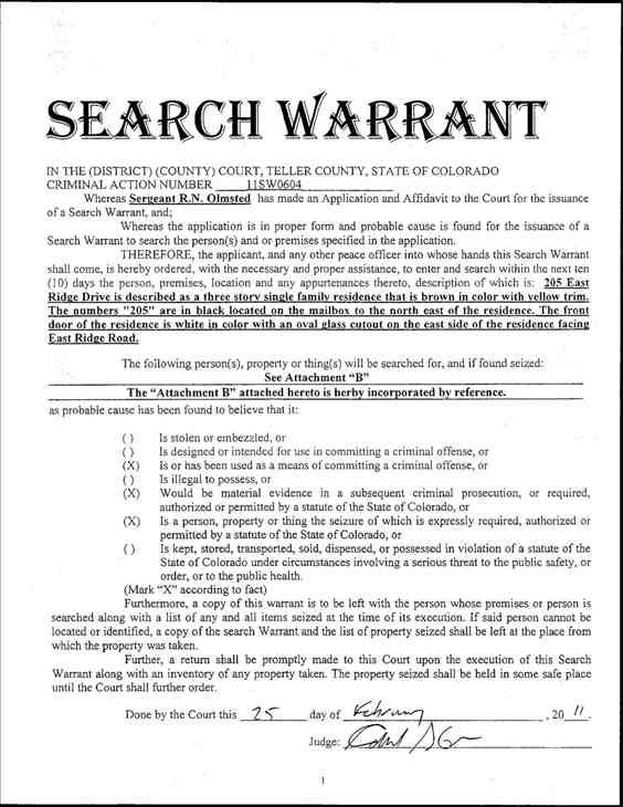 "<div class=""meta ""><span class=""caption-text "">Search warrants in the Jadon Higganbothan/Antoinetta McKoy case. (WTVD Photo/ Teller County, CO)</span></div>"