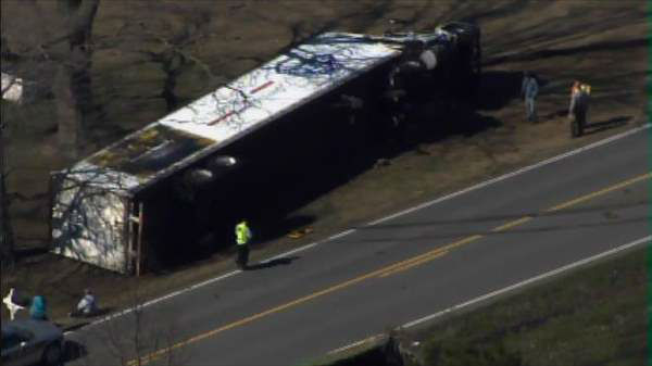 A truck carrying mattresses and box springs flipped over along Highway 96 near Selma late Monday morning, blocking the roadway.  No one was seriously injured. <span class=meta>(Photo&#47;Chopper11 HD)</span>