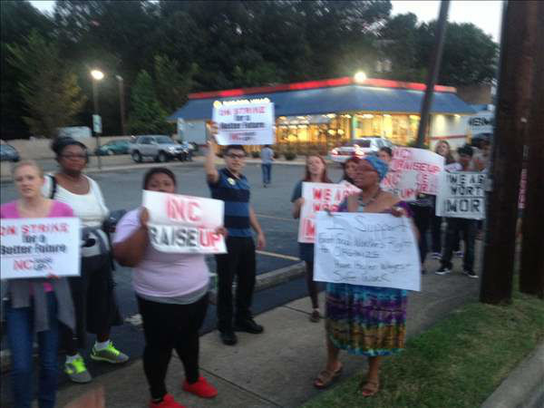 Fast-food strike at Burger King on W. Club Boulevard in Durham  <span class=meta>(Photo&#47;ABC11 Photojournalist Jeff Hinkle)</span>