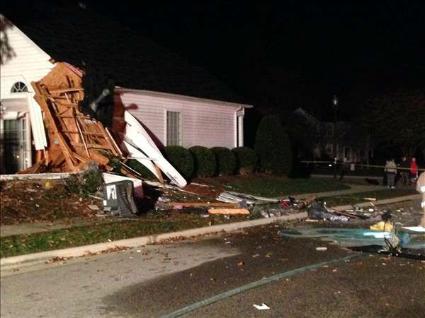 "<div class=""meta ""><span class=""caption-text "">The entire first floor of a Wake County home was destroyed overnight after a truck drove through it. (ABC11 Photojournalist Jeff Hinkle)</span></div>"