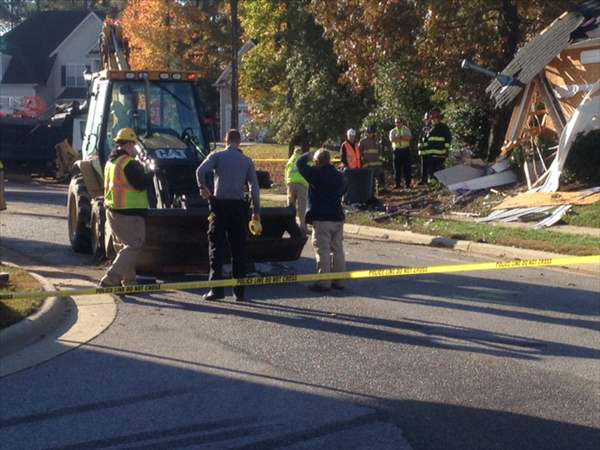 "<div class=""meta image-caption""><div class=""origin-logo origin-image ""><span></span></div><span class=""caption-text"">The entire first floor of a Wake County home was destroyed overnight after a truck drove through it. (Photo/ABC11 Photojournalist Jeff Hinkle)</span></div>"