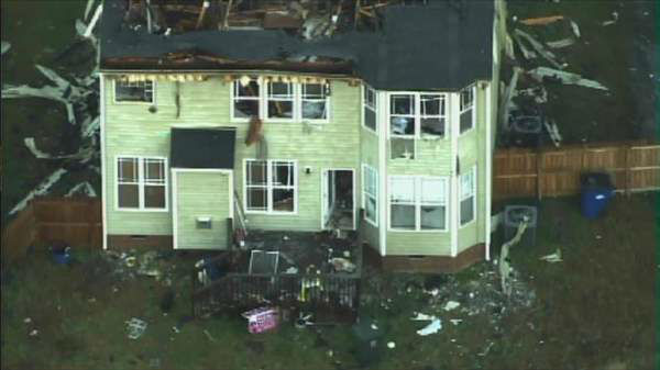 A house in southeast Raleigh was badly damaged overnight after catching on fire twice within 24 hours. <span class=meta>(Chopper11 HD)</span>