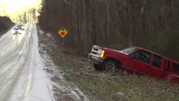 Frigid temperatures left slick spots along roadways across central North Carolina Tuesday morning, causing several accidents and traffic backups. <span class=meta>(WTVD Photo)</span>