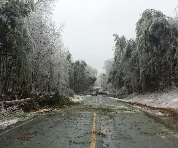 Dangerous road conditions led to several incidents Tuesday morning.  <span class=meta>(WTVD Photo&#47; IWitness photo)</span>