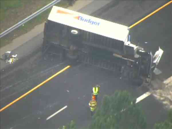 An overturned rental truck blocked several eastbound lanes on Interstate 40 Wednesday morning. <span class=meta>(WTVD Photo&#47; Chopper11 HD)</span>