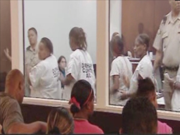 "<div class=""meta ""><span class=""caption-text "">Suspects make their first appearance before a judge on June 9. (WTVD Photo)</span></div>"