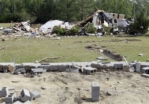 "<div class=""meta ""><span class=""caption-text "">The remnants of a destroyed home rests yards away from it's foundation in Ammon, N.C., Monday, April 18, 2011 after a tornado ripped through the area Saturday.  (AP Photo/ Chuck Burton)</span></div>"