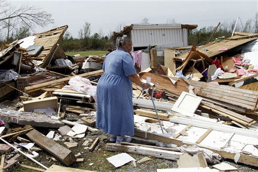 June White searches through what is left of Moore&#39;s Family Care Home in Colerain, N.C., Monday, April 18, 2011 after a tornado ripped through the area Saturday. <span class=meta>(AP Photo&#47; Jim R. Bounds)</span>