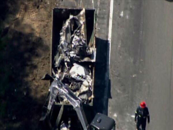 Truck carrying thousands of pounds of sugar caught on fire along I-95 North near exit 65 Tuesday. <span class=meta>(Photo&#47;Chopper11 HD)</span>