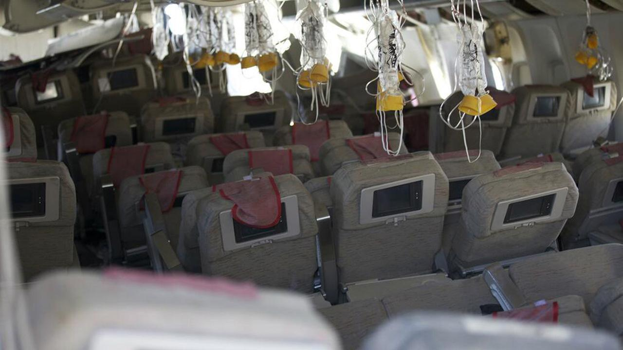 This image released by the National Transportation Safety Board, Sunday, July 7, 2013, shows the interior of the Boeing 777 Asiana Airlines Flight 214 aircraft.AP Photo/NTSB