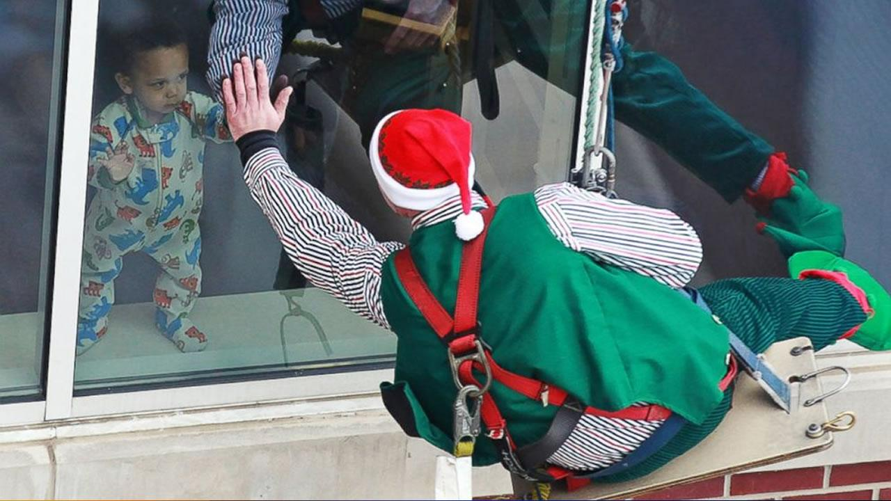 Christmastime can still be magical in the hospital, which the patients of Riley Hospital for Children at Indiana University Health learned when elves rappelled down the side of the 10-story building <span class=meta>(Courtesy Riley Hospital for Children at Indiana University)</span>