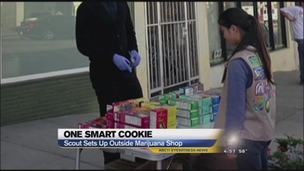 Calif. girl scout sells cookies by marijuana dispensary