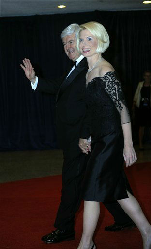 Newt and Callista Gingrich arrive at the White House Correspondents&#39; Association Dinner on Saturday, April 28, 2012 in Washington.  &#40;AP Photo&#47;Kevin Wolf&#41; <span class=meta>(AP Photo&#47; Kevin Wolf)</span>