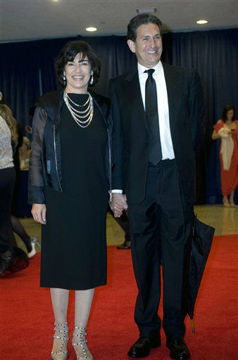 Christiane Amanpour and her husband, James Rubin, arrive at the White House Correspondents' Association Dinner on Saturday, April 28, 2012 in Washington.  (AP Photo/Kevin Wolf)
