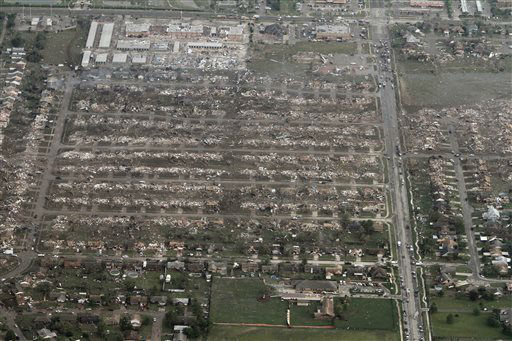 This aerial photo shows the remains of homes hit by a massive tornado in Moore, Okla., Monday May 20, 2013. A tornado roared through the Oklahoma City suburbs Monday, flattening entire neighborhoods, setting buildings on fire and landing a direct blow on an elementary school. &#40;AP Photo&#47;Steve Gooch&#41; <span class=meta>(AP Photo&#47; Steve Gooch)</span>