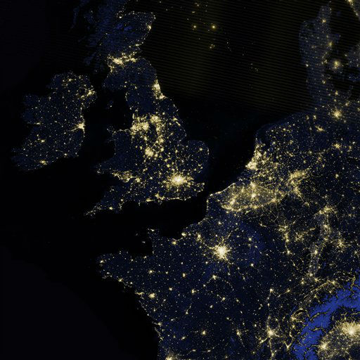 This image provided by NASA from a composite assembled from data acquired by the Suomi NPP satellite shows Great Britain, Ireland, and part of northwestern Europe, including France, Belgium and the Netherlands, as they appeared on the night of March 27, 2012. The image was made possible by the new satellite&#39;s &#34;day-night band&#34; of the Visible Infrared Imaging Radiometer Suite &#40;VIIRS&#41;, which detects light in a range of wavelengths from green to near-infrared and uses filtering techniques to observe dim signals such as city lights, gas flares, auroras, wildfires, and reflected moonlight.  <span class=meta>(AP Photo&#47; NASA)</span>