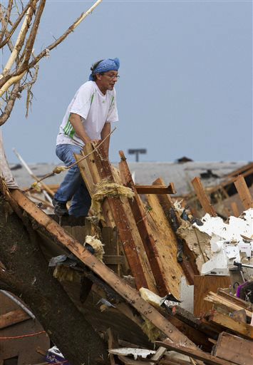 "<div class=""meta ""><span class=""caption-text "">A man searches a damaged home near SW 4th Street and Telephone Road after a tornado moved through Moore, Okla., on Monday, May 20, 2013. (AP Photo/Alonzo Adams) (AP Photo/ Alonzo Adams)</span></div>"