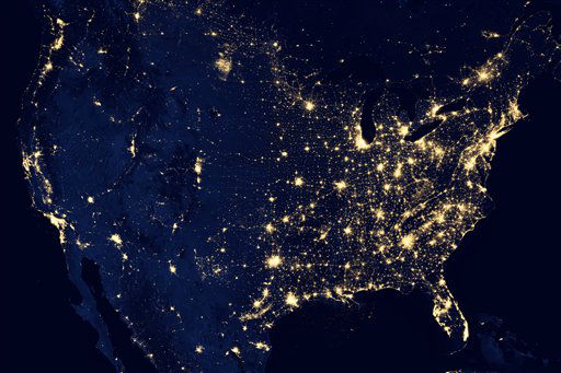 In this image provided by NASA, the United States of America is seen at night from a composite assembled from data acquired by the Suomi NPP satellite in April and October 2012. The image was made possible by the new satellite&#39;s &#34;day-night band&#34; of the Visible Infrared Imaging Radiometer Suite &#40;VIIRS&#41;, which detects light in a range of wavelengths from green to near-infrared and uses filtering techniques to observe dim signals such as city lights, gas flares, auroras, wildfires, and reflected moonlight. &#40;AP Photo&#47;NASA&#41; <span class=meta>(AP Photo&#47; NASA)</span>