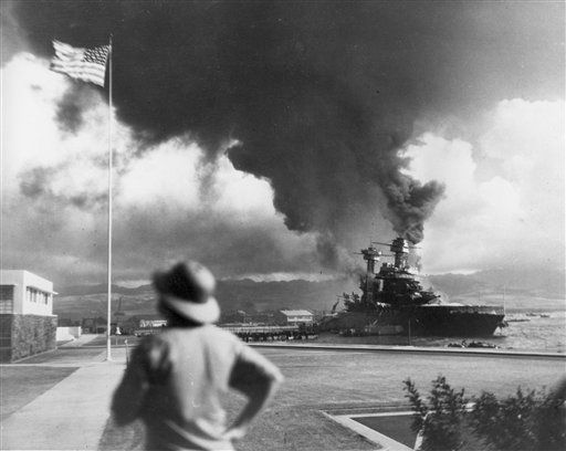 "<div class=""meta ""><span class=""caption-text "">In this Dec. 7, 1941 file photo, American ships burn during the Japanese attack on Pearl Harbor, Hawaii. With an eye on the immediate aftermath of the 1941 attack on Pearl Harbor, thousands of World War II veterans and other observers are expected on Sunday, Dec. 7, 2008 to commemorate the 67th anniversary of the devastating Japanese military raid.  (AP Photo/ Anonymous)</span></div>"