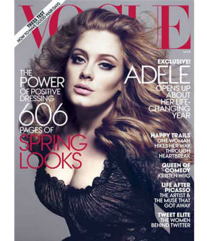 Songstress Adele is as famous for her voluptuous figure as her powerhouse voice, but Vogue came under fire for excessively slimming her down on this cover. <span class=meta>(VOGUE&#47;MERT ALAS AND MARCUS PIGGOTT)</span>