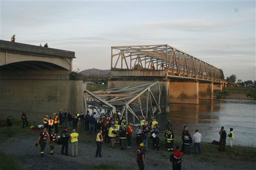 A portion of the Interstate-5 bridge is submerged after it collapsed into the Skagit river dumping vehicles and people into the water in Mount Vernon, Wash., Thursday, May 23, 2013 according to the Washington State Patrol. &#40;AP Photo&#47;Joe Nicholson&#41; <span class=meta>(AP Photo&#47; Joe Nicholson)</span>