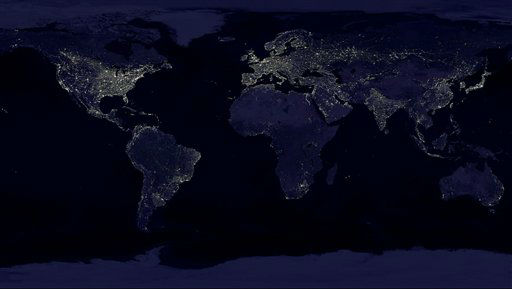This NASA image from a composite assembled from data acquired by the Suomi NPP satellite in April and October 2012 shows the earth's city lights at night.
