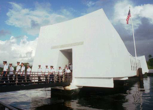 FILE-- Chinese sailors walk back to their boat shuttle after visiting the USS Arizona Memorial, Monday, March 10, 1997, at Pearl Harbor, Hawaii.  On Sunday, Dec. 7, 1997, the 56th anniversary of the attack that drew the United States into World War II, two Navy men who survived the battle are scheduled to have their ashes scattered on the waters above the battleship. It is an honor extended to those who survived the attack while serving on another ship, or those who served on the Arizona before the attack.  <span class=meta>(AP Photo&#47; TONY CHENG)</span>