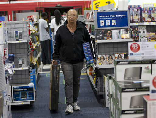"<div class=""meta image-caption""><div class=""origin-logo origin-image ""><span></span></div><span class=""caption-text"">Margaret Cole shops at the Pembroke Pines, Fla. Best Buy, Thursday, Nov. 22, 2012 for a tv and other electronics.   (AP Photo/ J Pat Carter)</span></div>"