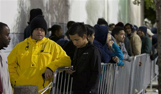 "<div class=""meta ""><span class=""caption-text "">Several thousand shoppers wait in line, some since Wednesday morning, to be the first in the Pembroke Pines, Fla. Best Buy, Thursday, Nov. 22, 2012 for bargains.   (AP Photo/ J Pat Carter)</span></div>"