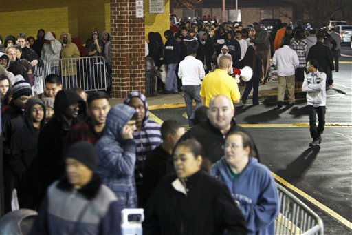 People wait in line, on Thursday Nov 22, 2012, for a Best Buy store in Northeast Philadelphia to open