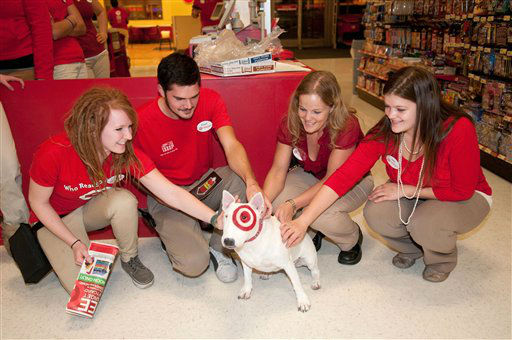 "<div class=""meta ""><span class=""caption-text "">Target team members are surprised by a visit from Bullseye, Target's mascot, just before opening their doors Thursday November. 22, 2012 for Black Friday shoppers at the Target store in Roseville, Minn. (AP Photo/ DAWN VILLELLA)</span></div>"