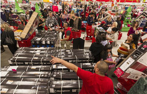 "<div class=""meta ""><span class=""caption-text "">Shoppers wait to get one television per customer doorbuster deal at Target store in Burbank, Calif.,  on Thursday, Nov. 22, 2012.  (AP Photo/ Damian Dovarganes)</span></div>"