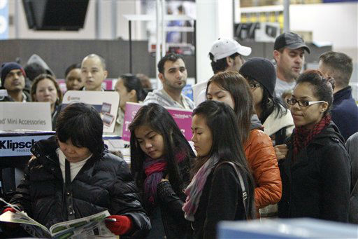 "<div class=""meta ""><span class=""caption-text "">Customers wait in line in the computer department to shop for Black Friday discounts at a Best Buy store, Friday Nov 23, 2012, in Northeast Philadelphia.   (AP Photo/ Joseph Kaczmarek)</span></div>"