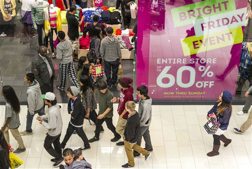 "<div class=""meta image-caption""><div class=""origin-logo origin-image ""><span></span></div><span class=""caption-text"">Young consumers shop early on the early morning hours at the GAP store offering a ""Entire Store Up to 60% Discount"" ad Friday, Nov. 23, 2012 at the Glendale Galleria mall in Glendale, Calif.  (AP Photo/ Damian Dovarganes)</span></div>"