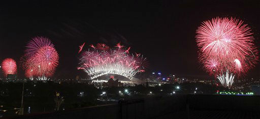 Fireworks explode in the sky above Sydney Harbour during the New Year celebrations in Sydney, Australia, Tuesday, Jan. 1, 2013. <span class=meta>(AP Photo&#47; Rob Griffith)</span>
