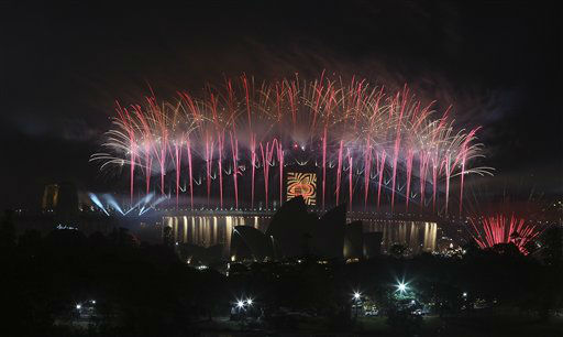 Fireworks explode Sydney Harbour bridge during the New Year celebrations in Sydney, Australia, Tuesday, Jan. 1, 2013. <span class=meta>(AP Photo&#47; Rob Griffith)</span>