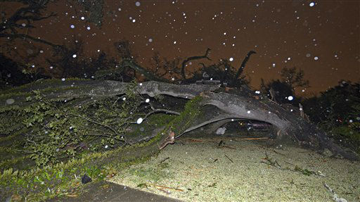 "<div class=""meta ""><span class=""caption-text "">A large tree covers the front lawn of a home  after tornado touched down Tuesday, Dec. 25, 2012 in the Midtown area of Mobile, Ala. (AP Photo/ G.M. Andrews)</span></div>"