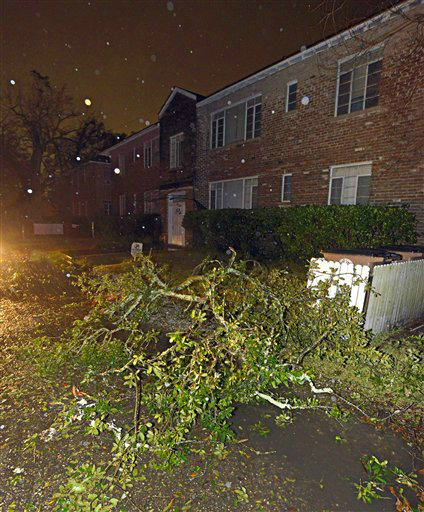 Downed tree limbs and other debris cover the street and sidewalk in front of an apartment building after a tornado touched down Tuesday, Dec. 25, 2012 in the Midtown area of Mobile, Ala.  <span class=meta>(AP Photo&#47; G.M. Andrews)</span>