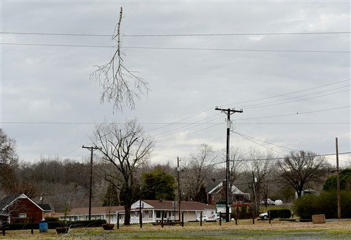 A Tree branch hangs from power lines after a tornado touched down causing minor damage to homes and knocking out power on Wednesday, Jan. 30, 2013, in Ashland City, Tenn.  Forecasters examined the damage path of 4.6 miles Wednesday morning and estimated the peak wind speed at 115 mph, qualifying the tornado as an EF-2 twister. The path of damage was about 150 yards wide.  <span class=meta>(AP Photo&#47; Mark Zaleski)</span>