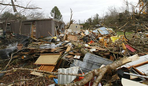 Several houses and businesses were destroyed after a storm ripped through Coble, Tenn. early Wednesday, Jan. 30, 2013. A large storm system packing high winds, hail and at least one tornado tore across a wide swath of the South and Midwest on Wednesday, killing one person, blacking out power to thousands and damaging homes.  <span class=meta>(AP Photo&#47; Butch Dill)</span>