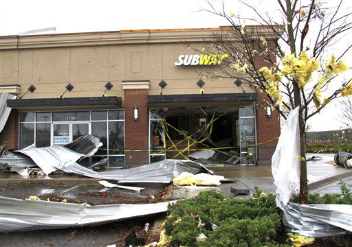A Subway sandwich store was severely damaged on Wednesday, Jan. 30, 2013, in Mount Juliet, Tenn.  Forecasters examined the damage path of 4.6 miles Wednesday morning and estimated the peak wind speed at 115 mph, qualifying the tornado as an EF-2 twister. The path of damage was about 150 yards wide. <span class=meta>(AP Photo&#47; Kristin M. Hall)</span>