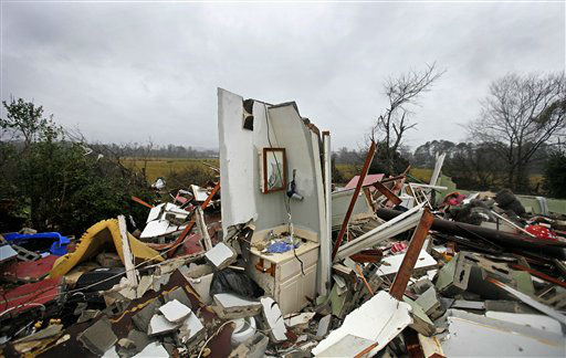 The remnants of a bathroom stand amidst the wreckage of a destroyed home after a tornado struck, Wednesday, Jan. 30, 2013, in Adairsville, Ga. A fierce storm system that roared across Georgia has left at least one person dead after it demolished buildings and flipped vehicles on Interstate 75 northwest of Atlanta.  <span class=meta>(AP Photo&#47; David Goldman)</span>