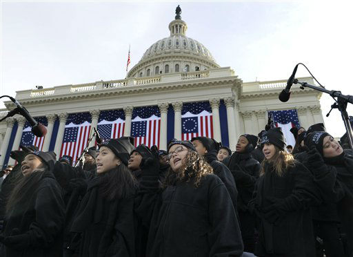 Members of the Lee University Festival Choir and PS 22 Chorus perform before the ceremonial swearing-in of President Barack Obama at the U.S. Capitol during the 57th Presidential Inauguration in Washington, Monday, Jan. 21, 2013.  <span class=meta>(AP Photo&#47; Susan Walsh)</span>