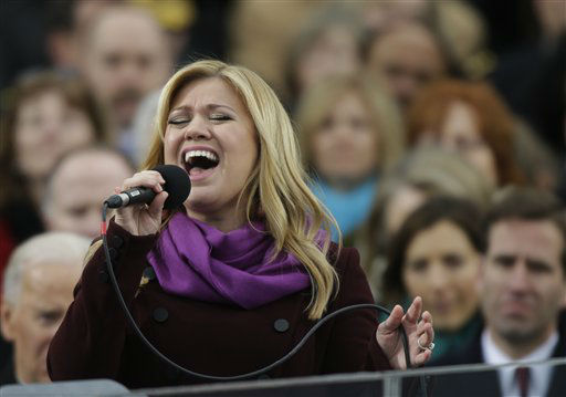Singer Kelly Clarkson performs at the ceremonial swearing-in for President Barack Obama at the U.S. Capitol during the 57th Presidential Inauguration in Washington, Monday, Jan. 21, 2013. <span class=meta>(AP Photo&#47; Pablo Martinez Monsivais)</span>
