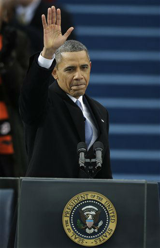 President Barack Obama waves after his speech at the ceremonial swearing-in at the U.S. Capitol during the 57th Presidential Inauguration in Washington, Monday, Jan. 21, 2013.  <span class=meta>(AP Photo&#47; Pablo Martinez Monsivais)</span>