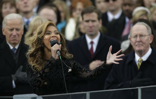 Beyonce sings the national anthem at the ceremonial swearing-in at the U.S. Capitol during the 57th Presidential Inauguration in Washington, Monday, Jan. 21, 2013.  <span class=meta>(AP Photo&#47; Pablo Martinez Monsivais)</span>