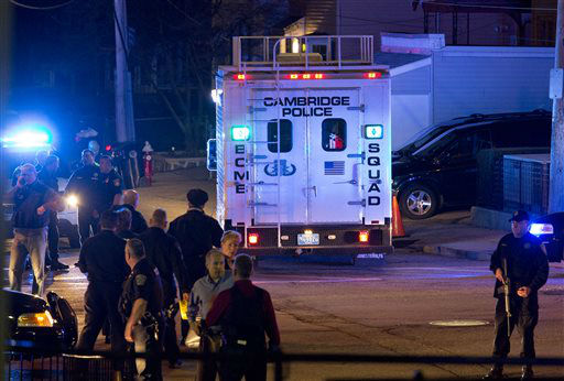 "<div class=""meta ""><span class=""caption-text "">A bomb squad truck arrives at an incident Friday, April 19, 2013, in Watertown, Mass.  (AP Photo/ Craig Ruttle)</span></div>"
