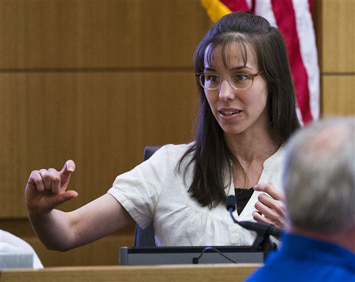 "<div class=""meta ""><span class=""caption-text "">Jodi Arias answers written questions from the jury during her murder trial, Wednesday, March 6, 2013 in Maricopa County Superior Court in Phoenix.  (AP Photo/ Tom Tingle)</span></div>"
