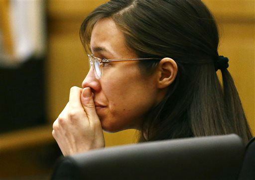 "<div class=""meta ""><span class=""caption-text "">Defendant Jodi Arias listens to defense attorney Kirk Nurmi make his closing arguments during her trial on Friday, May 3, 2013 at Maricopa County Superior Court in Phoenix.  (AP Photo/ Rob Schumacher)</span></div>"